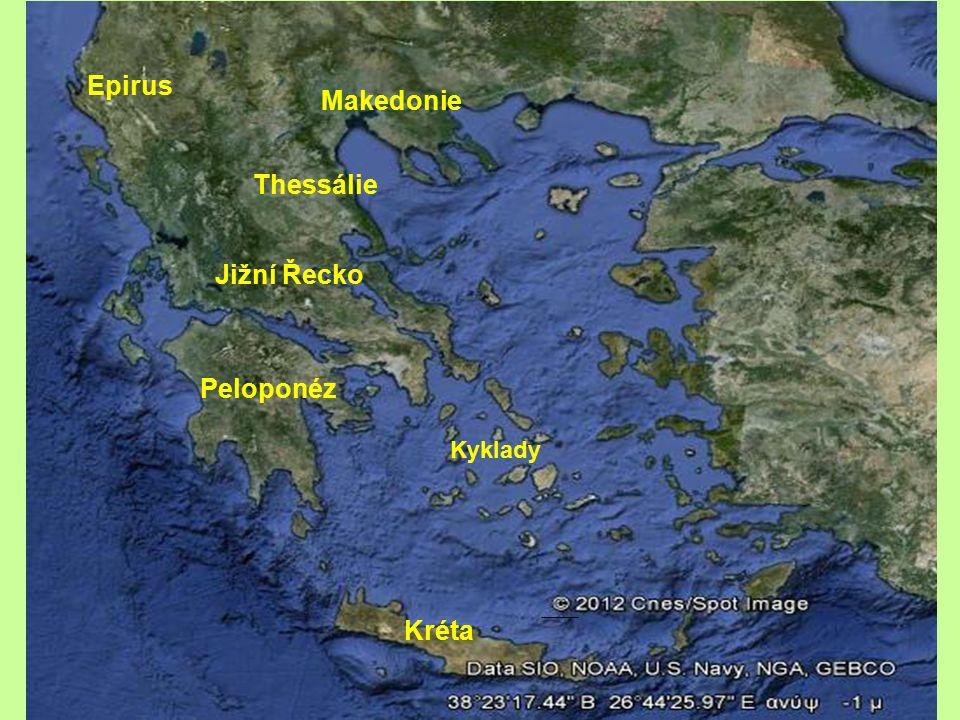 Epirus Makedonie Thessálie Jižní Řecko Peloponéz Kyklady Kréta