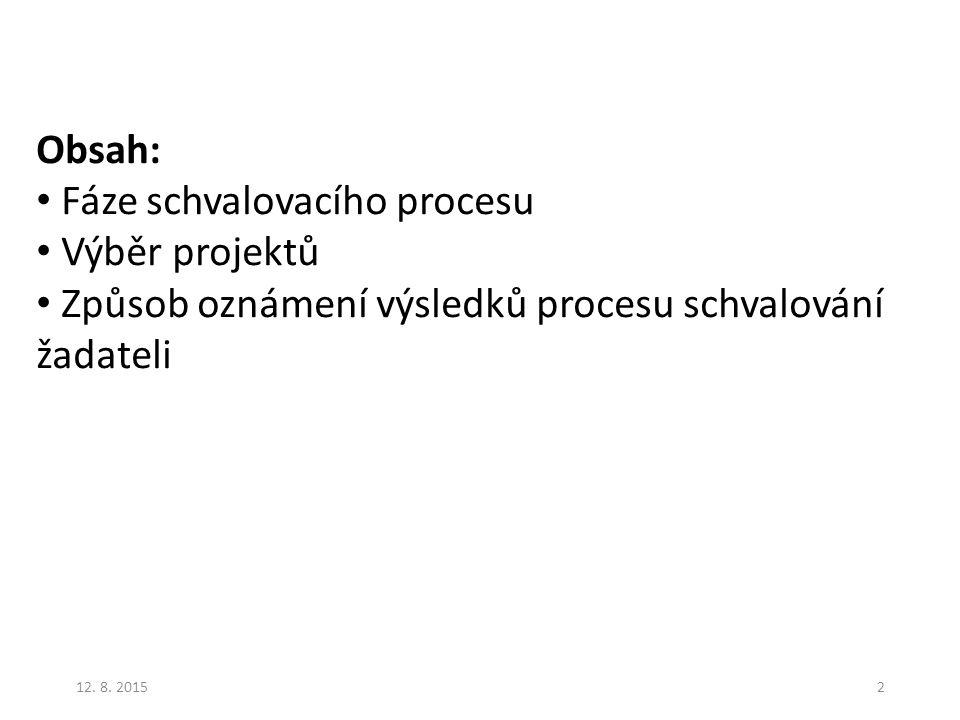 Fáze schvalovacího procesu Výběr projektů
