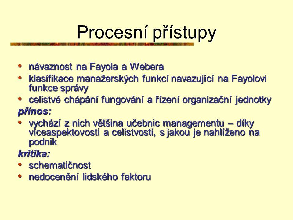 Procesní přístupy návaznost na Fayola a Webera