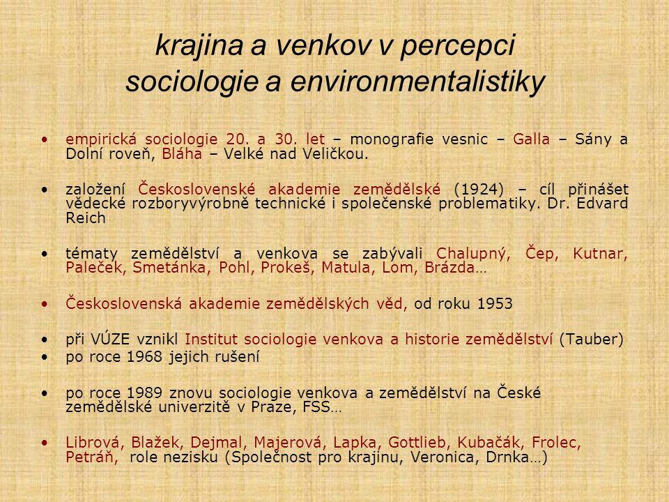 krajina a venkov v percepci sociologie a environmentalistiky