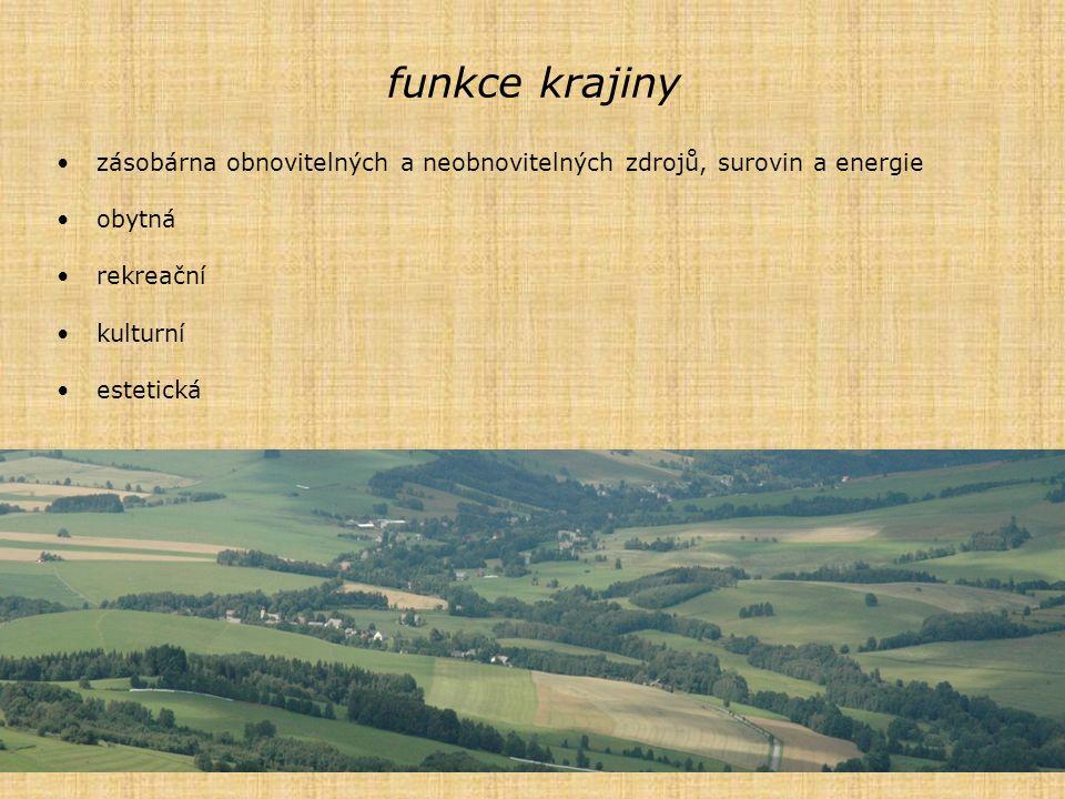 funkce krajiny zásobárna obnovitelných a neobnovitelných zdrojů, surovin a energie. obytná. rekreační.
