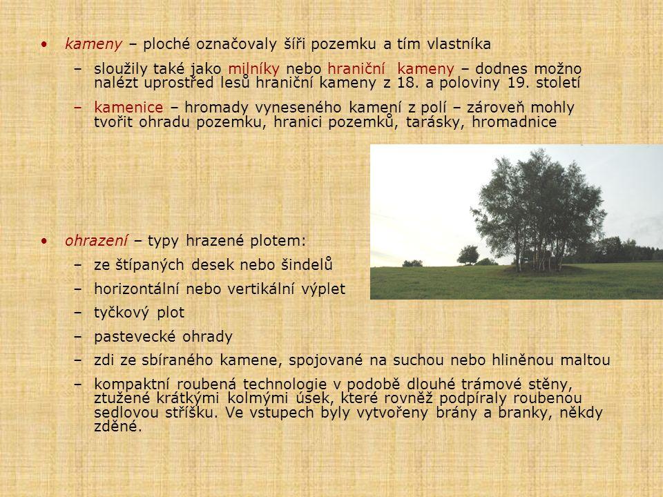 kameny – ploché označovaly šíři pozemku a tím vlastníka
