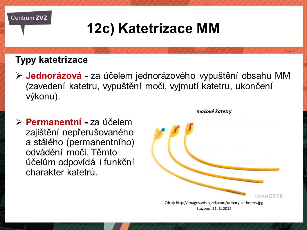 12c) Katetrizace MM Typy katetrizace