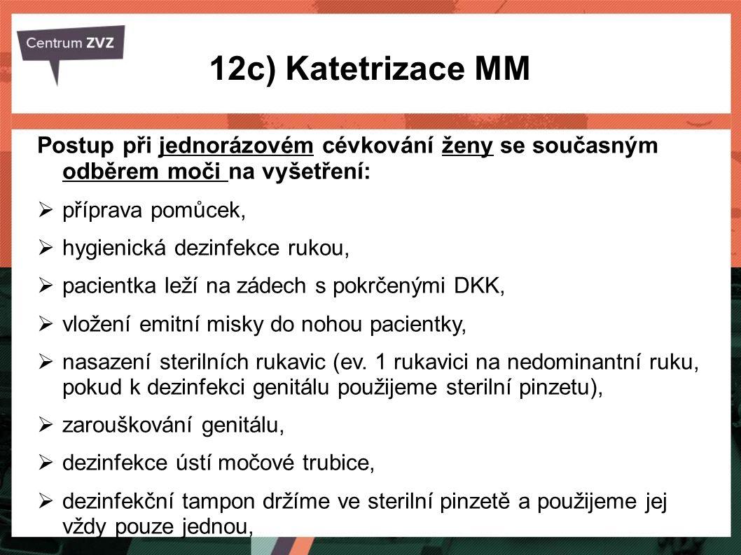 12c) Katetrizace MM Postup při jednorázovém cévkování ženy se současným odběrem moči na vyšetření: