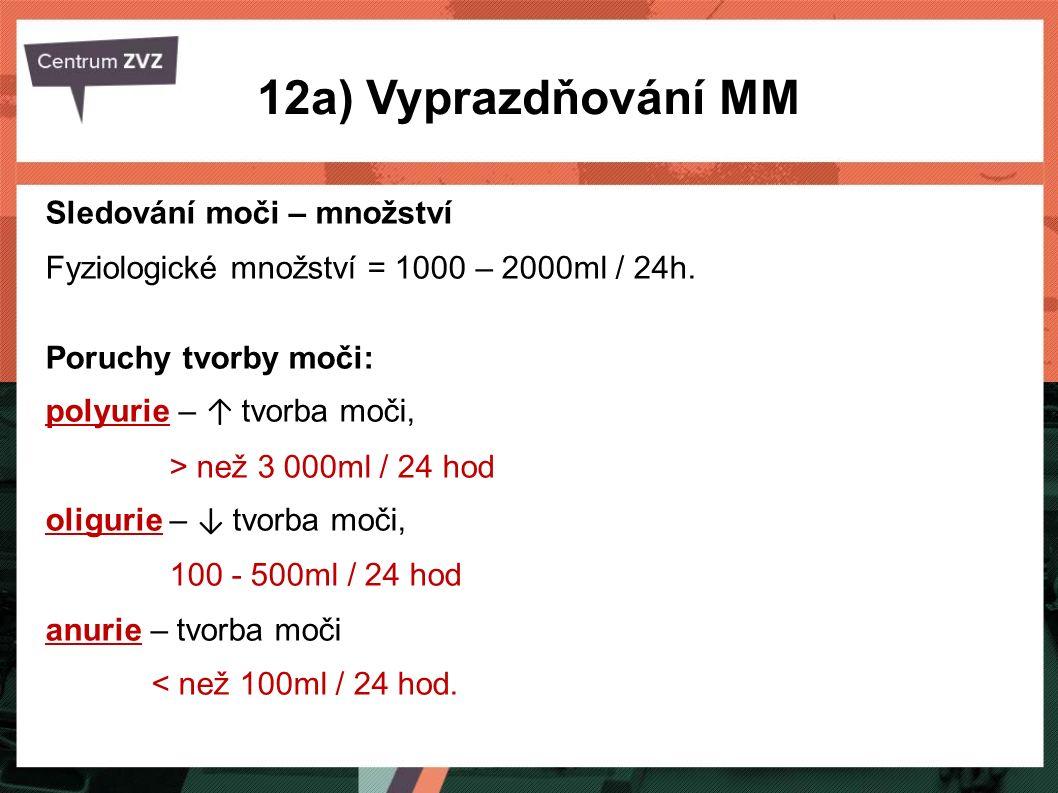 12a) Vyprazdňování MM Sledování moči – množství