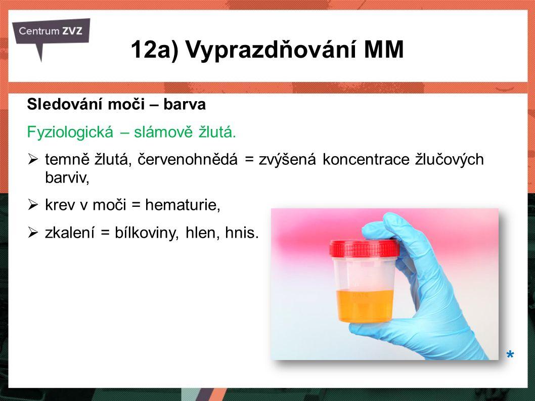 12a) Vyprazdňování MM * Sledování moči – barva