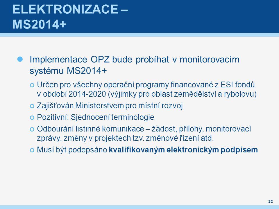 Elektronizace – MS2014+ Implementace OPZ bude probíhat v monitorovacím systému MS2014+