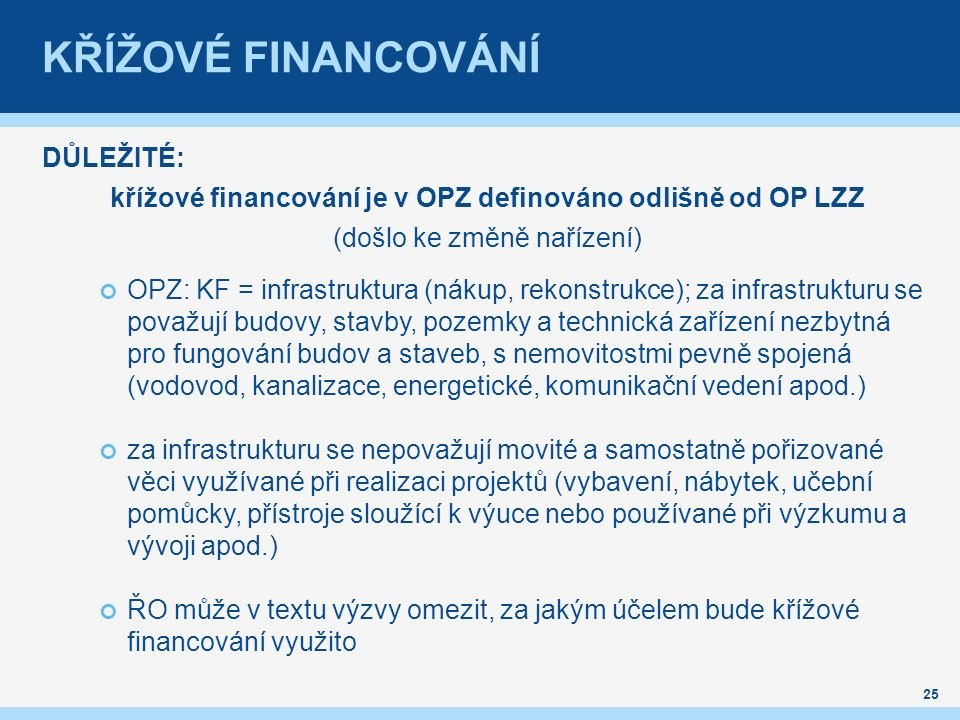 křížové financování je v OPZ definováno odlišně od OP LZZ