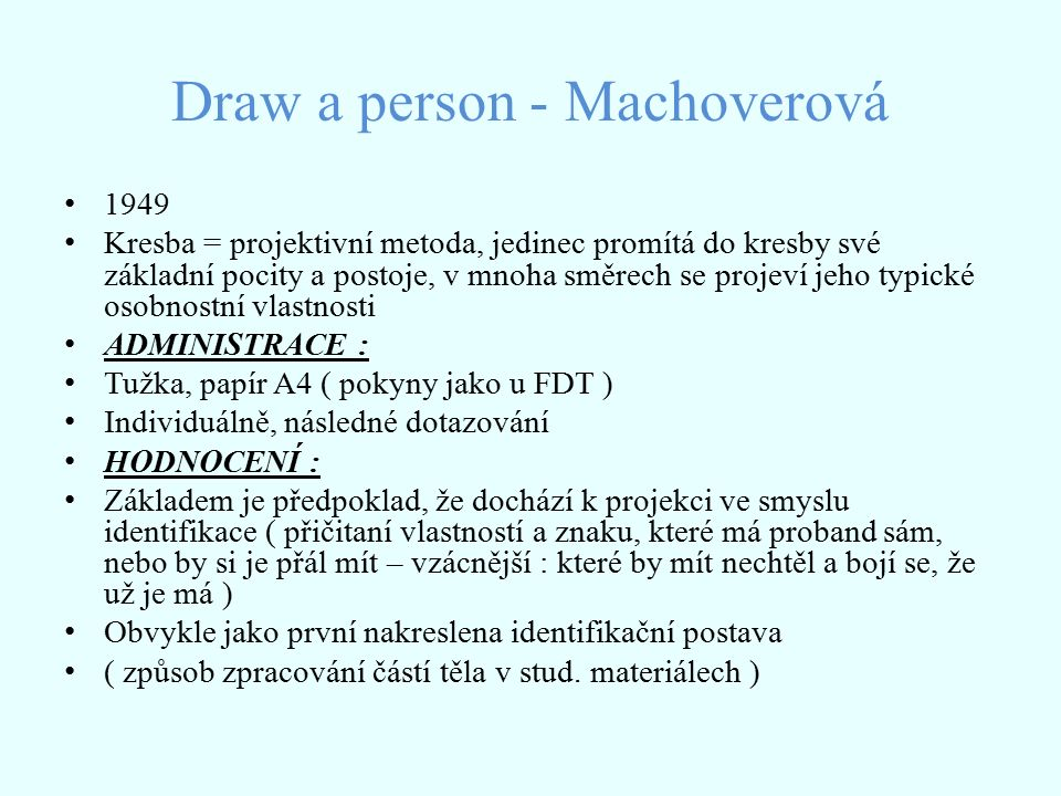 Draw a person - Machoverová