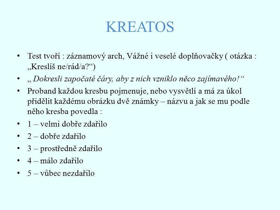 """KREATOS Test tvoří : záznamový arch, Vážné i veselé doplňovačky ( otázka : """"Kreslíš ne/rád/a )"""