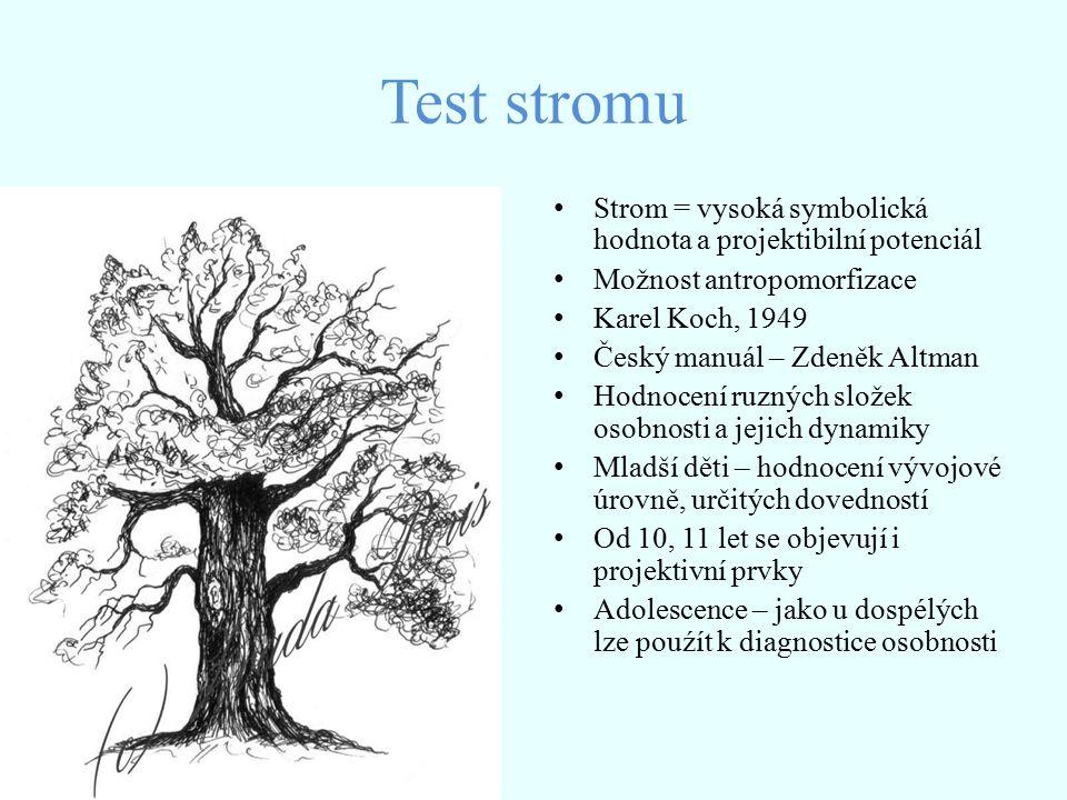 Test stromu Strom = vysoká symbolická hodnota a projektibilní potenciál. Možnost antropomorfizace.