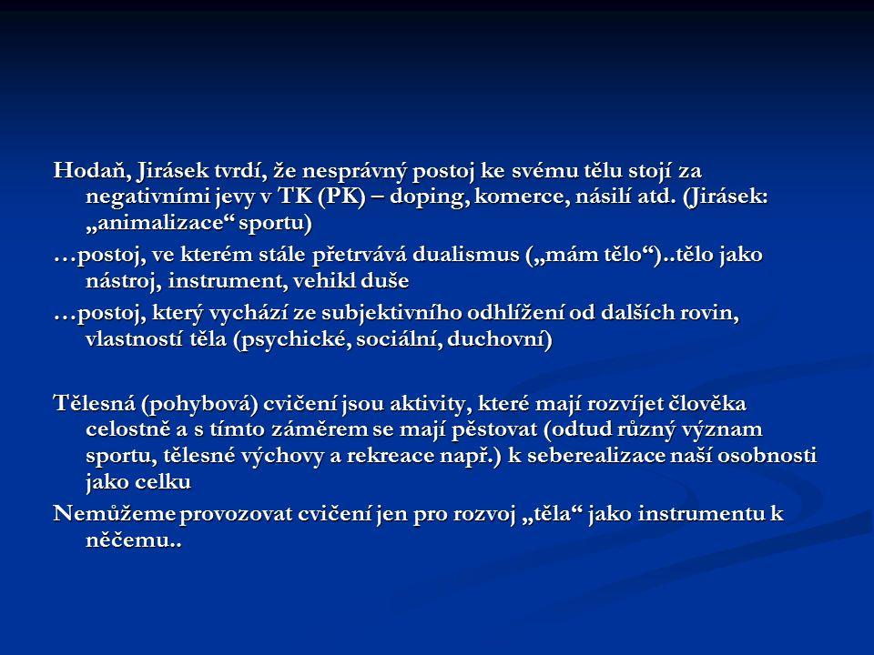 """Hodaň, Jirásek tvrdí, že nesprávný postoj ke svému tělu stojí za negativními jevy v TK (PK) – doping, komerce, násilí atd. (Jirásek: """"animalizace sportu)"""