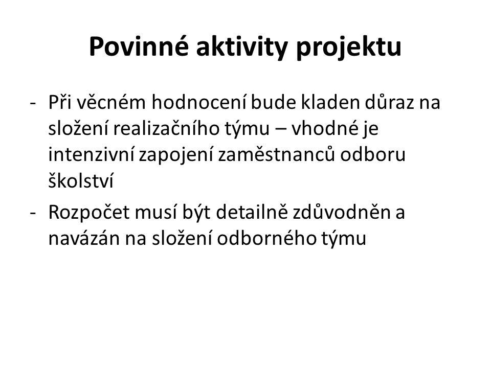 Povinné aktivity projektu
