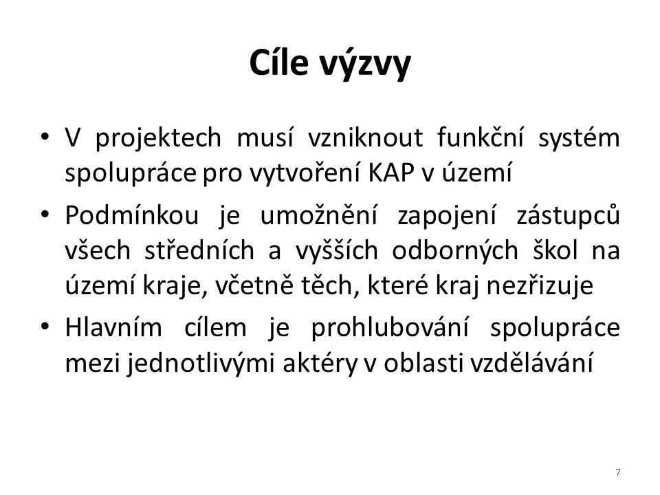 Cíle výzvy V projektech musí vzniknout funkční systém spolupráce pro vytvoření KAP v území.