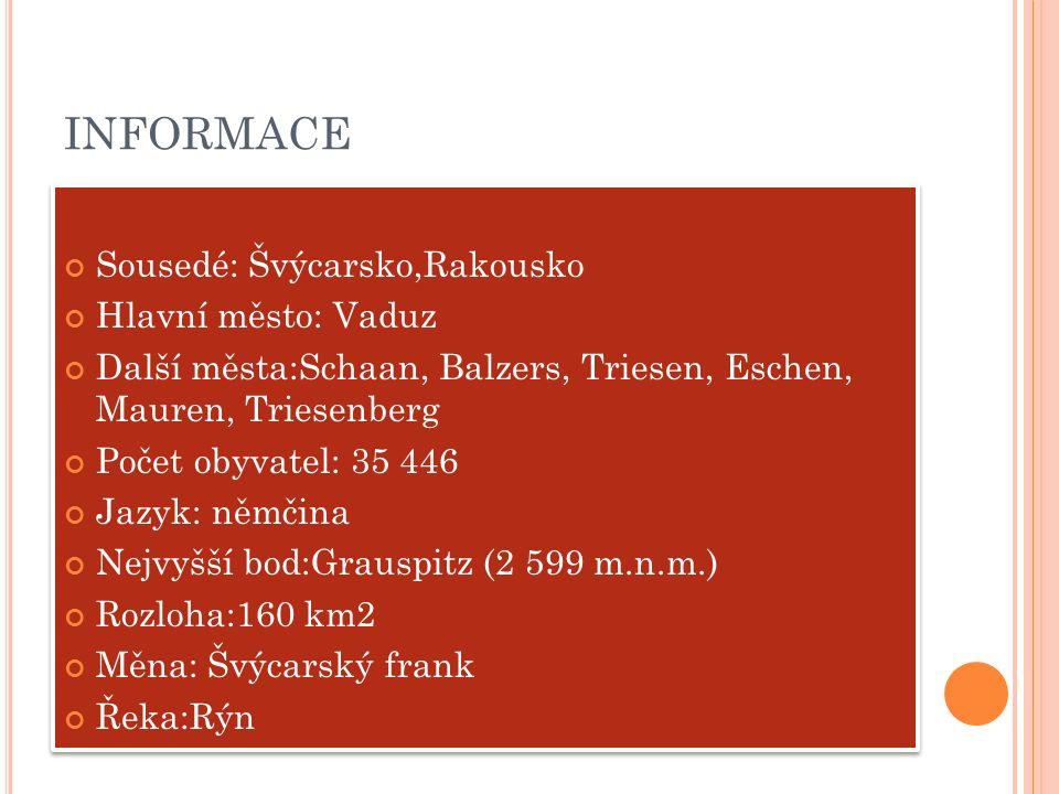 INFORMACE Sousedé: Švýcarsko,Rakousko Hlavní město: Vaduz