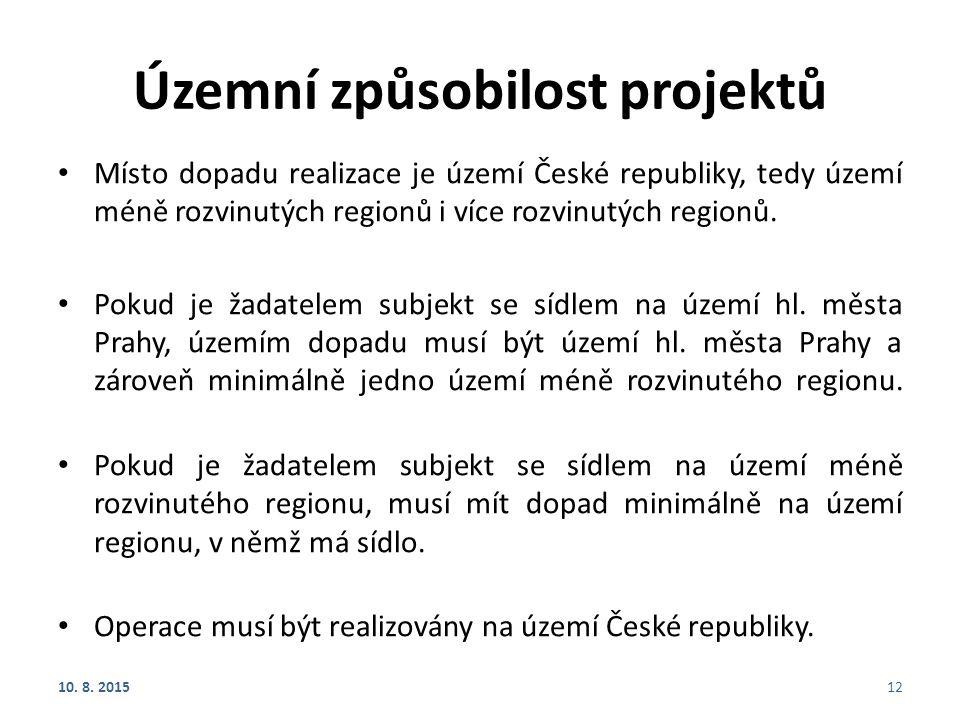 Územní způsobilost projektů