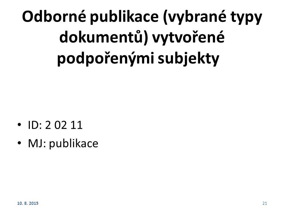 Odborné publikace (vybrané typy dokumentů) vytvořené podpořenými subjekty
