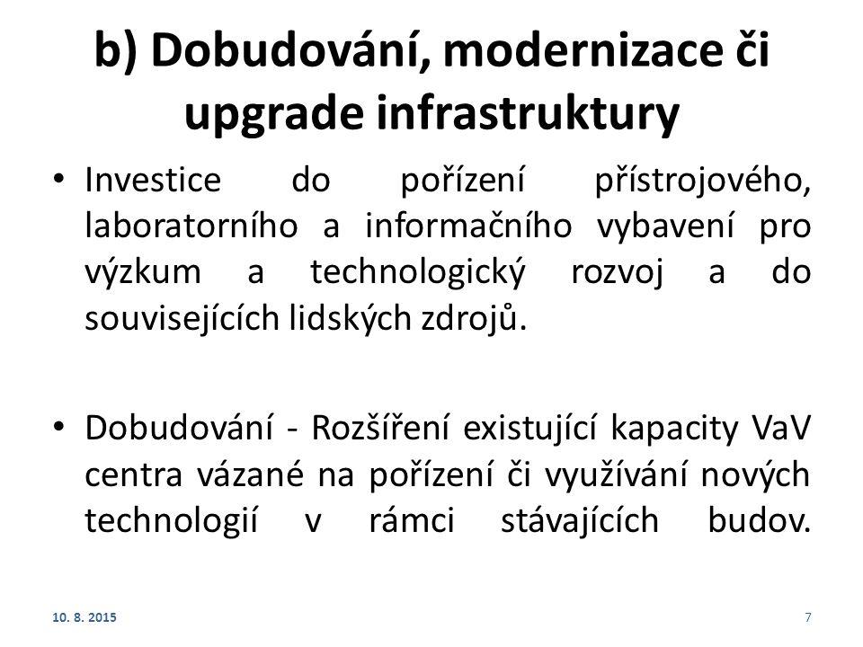 b) Dobudování, modernizace či upgrade infrastruktury