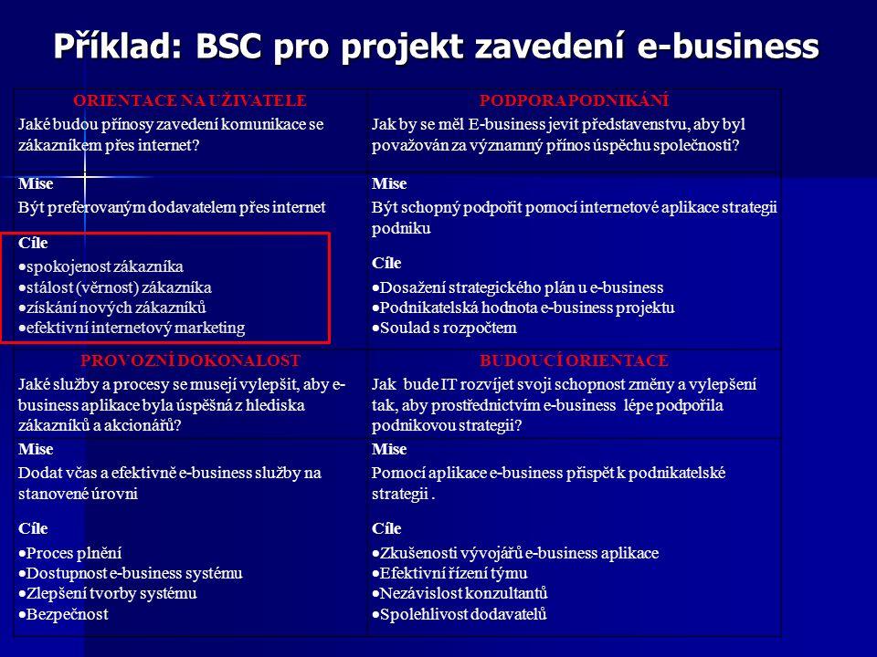Příklad: BSC pro projekt zavedení e-business