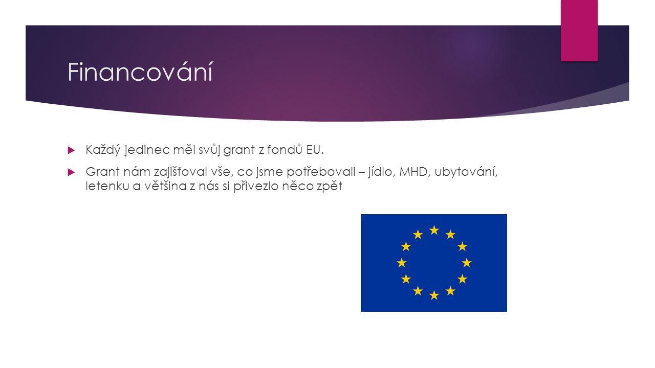 Financování Každý jedinec měl svůj grant z fondů EU.