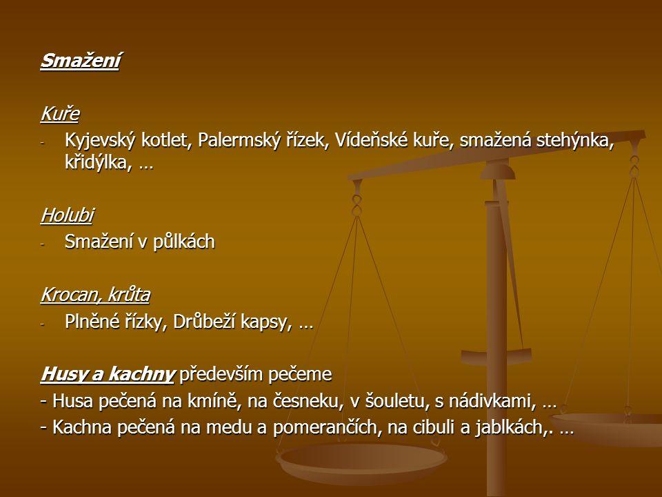 Smažení Kuře. Kyjevský kotlet, Palermský řízek, Vídeňské kuře, smažená stehýnka, křidýlka, … Holubi.