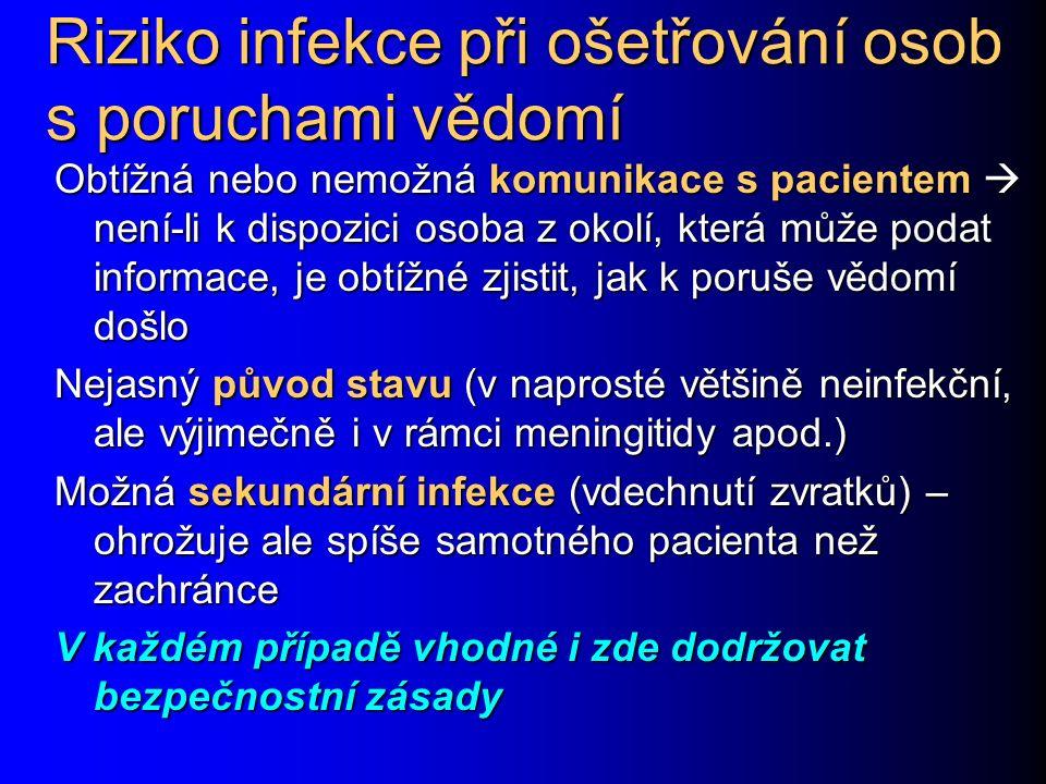 Riziko infekce při ošetřování osob s poruchami vědomí