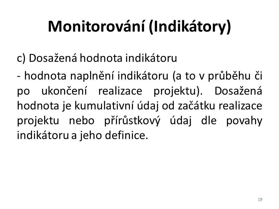 Monitorování (Indikátory)