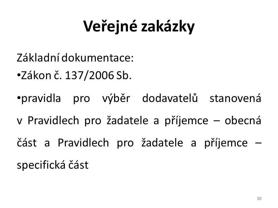 Veřejné zakázky Základní dokumentace: Zákon č. 137/2006 Sb.