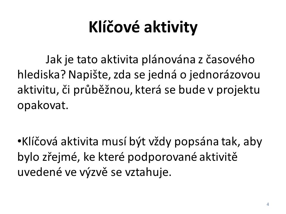 Klíčové aktivity