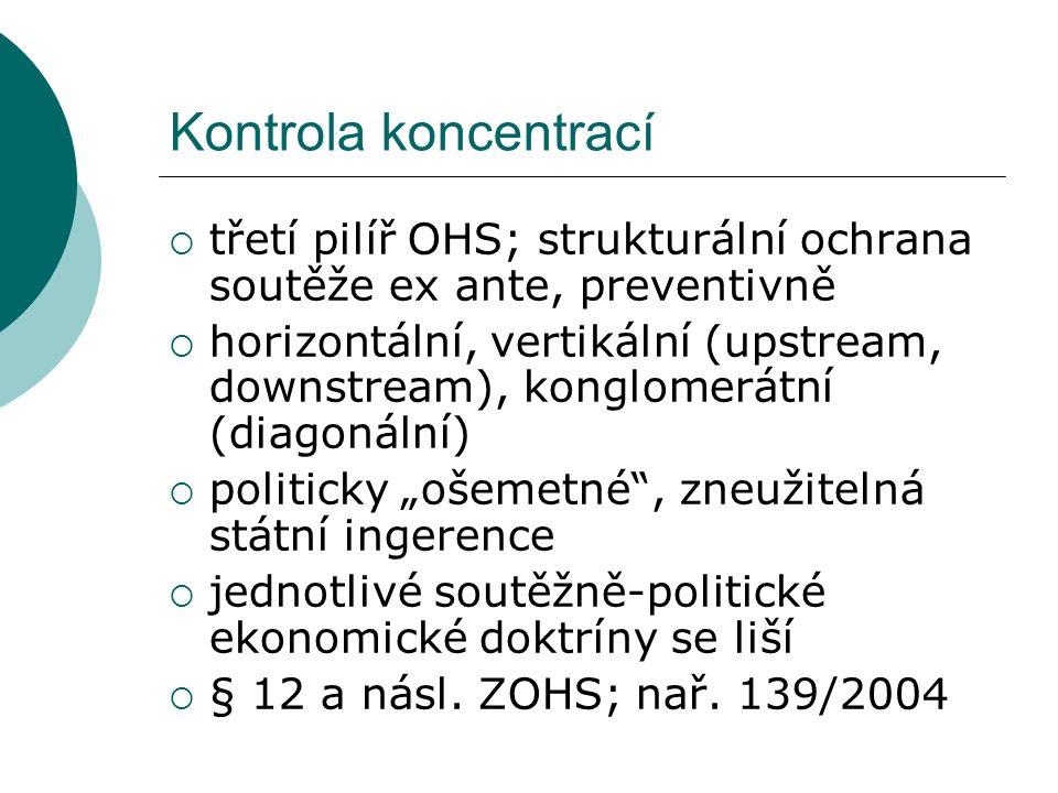 Kontrola koncentrací třetí pilíř OHS; strukturální ochrana soutěže ex ante, preventivně.