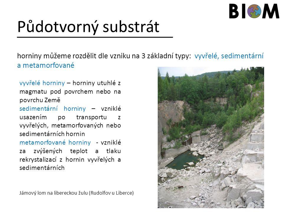 Půdotvorný substrát horniny můžeme rozdělit dle vzniku na 3 základní typy: vyvřelé, sedimentární a metamorfované.