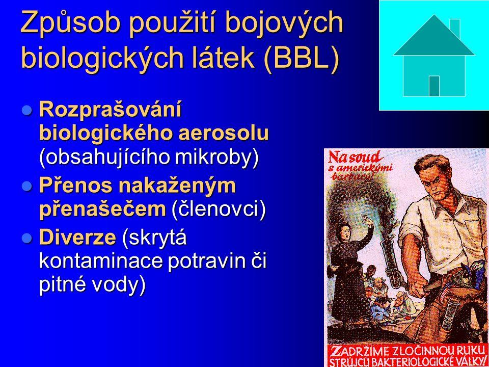 Způsob použití bojových biologických látek (BBL)