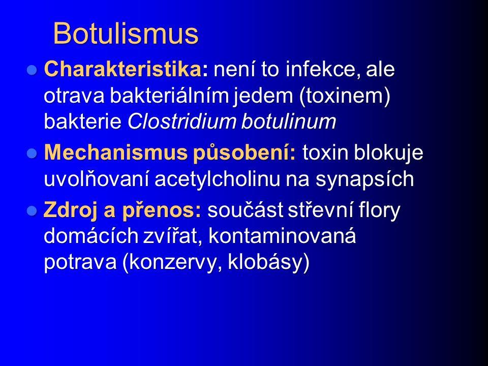 Botulismus Charakteristika: není to infekce, ale otrava bakteriálním jedem (toxinem) bakterie Clostridium botulinum.