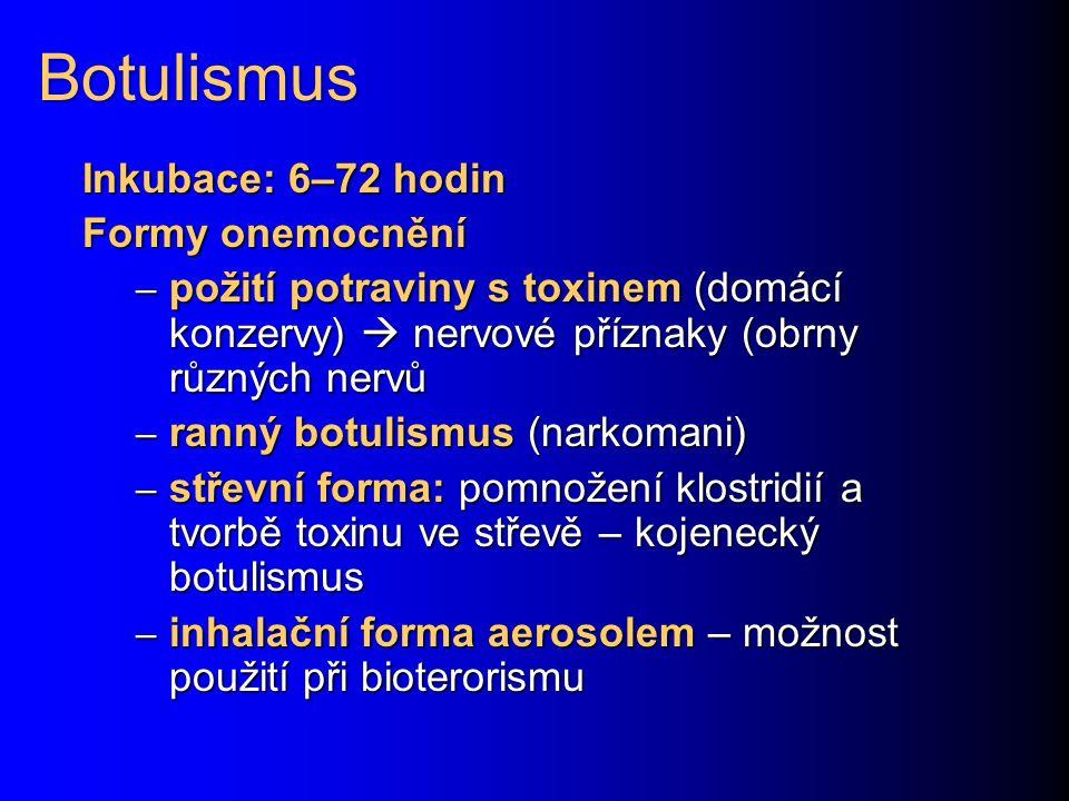 Botulismus Inkubace: 6–72 hodin Formy onemocnění