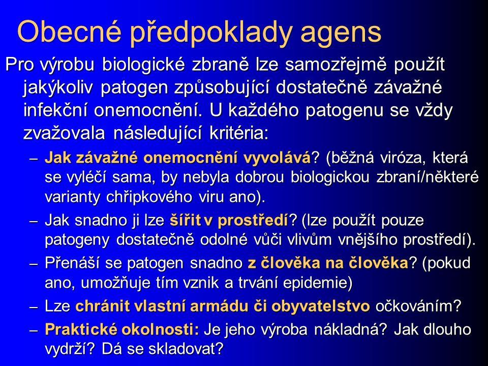 Obecné předpoklady agens
