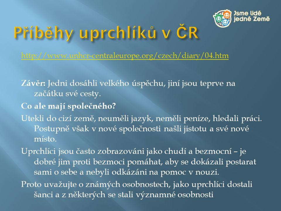 Příběhy uprchlíků v ČR http://www.unhcr-centraleurope.org/czech/diary/04.htm.