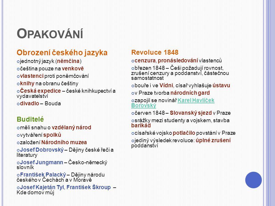 Opakování Obrození českého jazyka Revoluce 1848 Buditelé