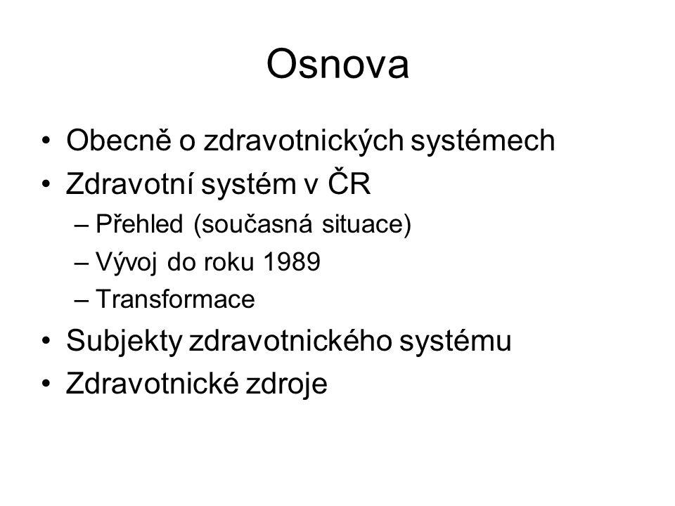 Osnova Obecně o zdravotnických systémech Zdravotní systém v ČR