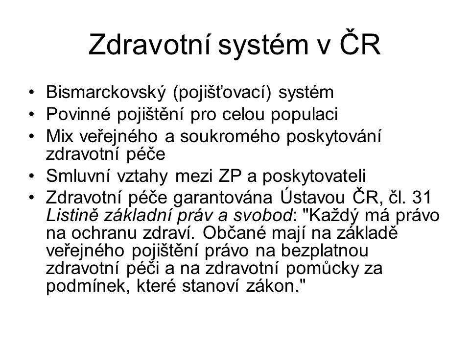 Zdravotní systém v ČR Bismarckovský (pojišťovací) systém