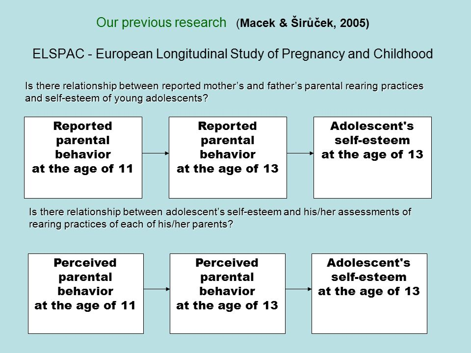 Our previous research (Macek & Širůček, 2005) ELSPAC - European Longitudinal Study of Pregnancy and Childhood