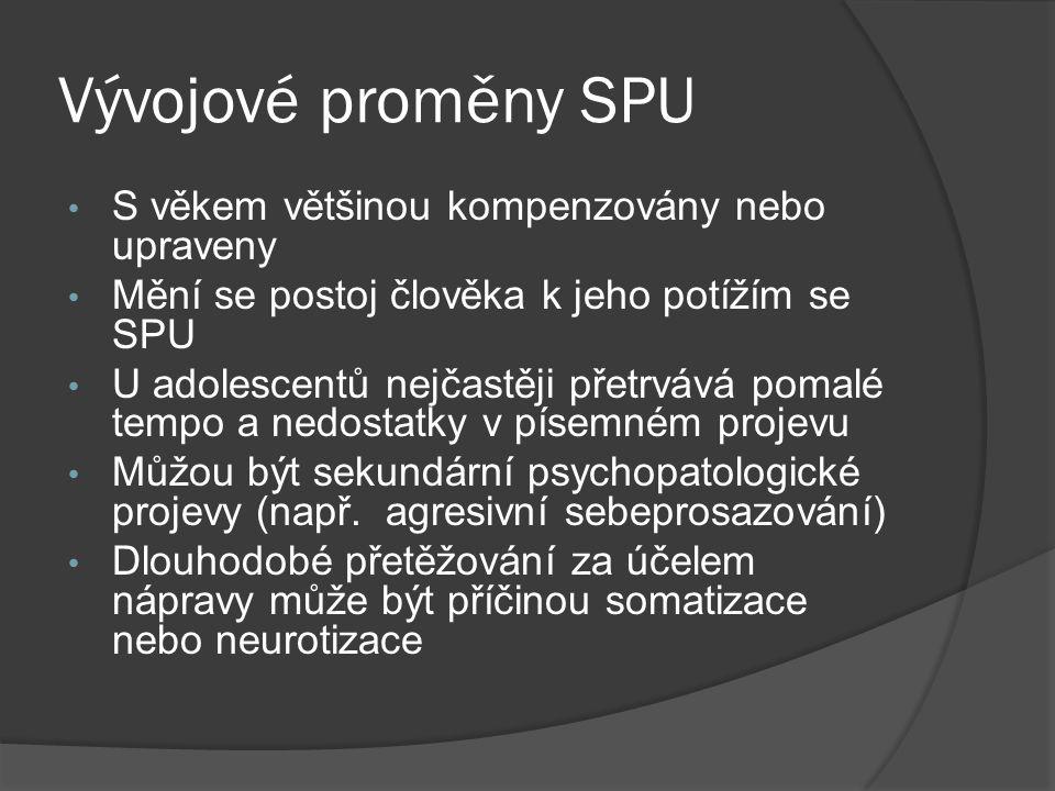 Vývojové proměny SPU S věkem většinou kompenzovány nebo upraveny