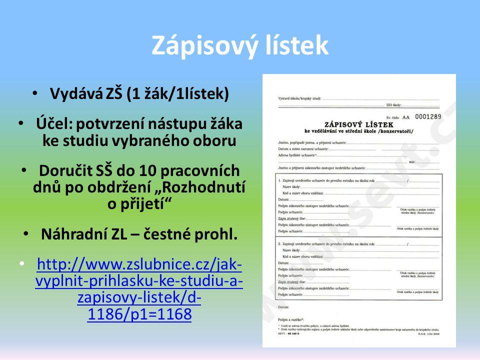 Zápisový lístek Vydává ZŠ (1 žák/1lístek)
