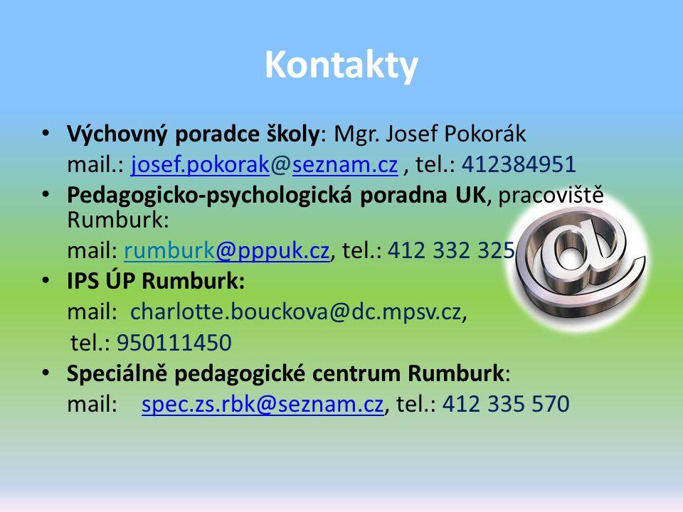 Kontakty Výchovný poradce školy: Mgr. Josef Pokorák