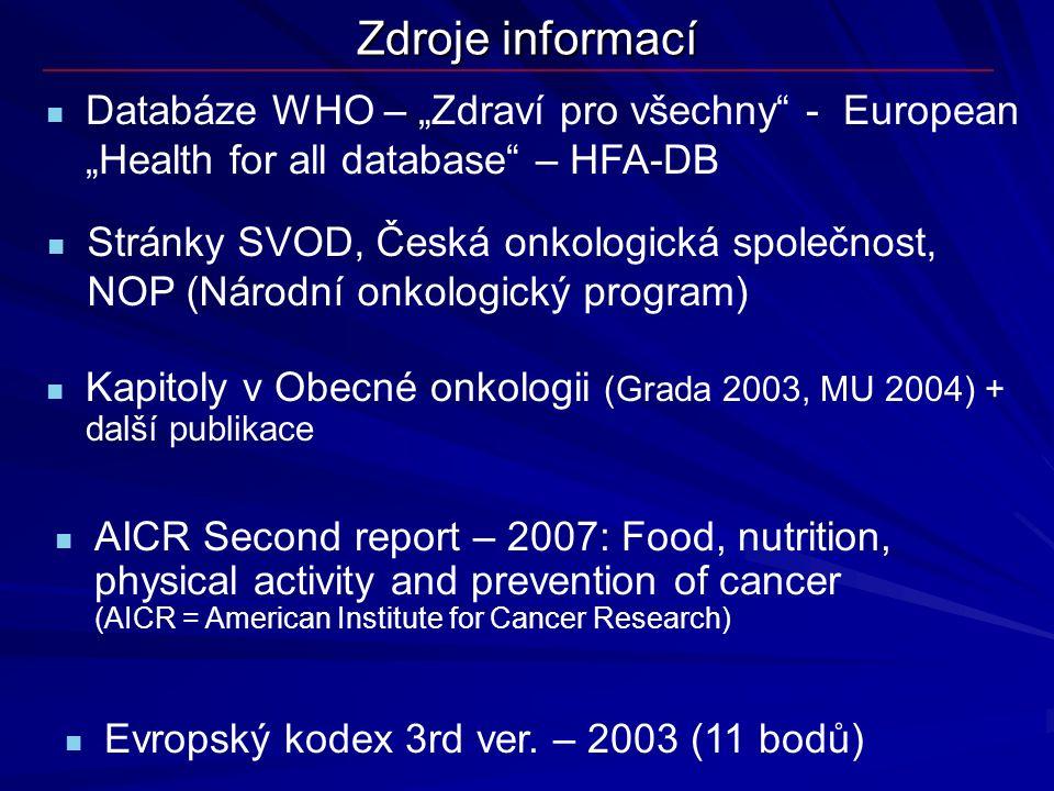 """Zdroje informací Databáze WHO – """"Zdraví pro všechny - European """"Health for all database – HFA-DB."""