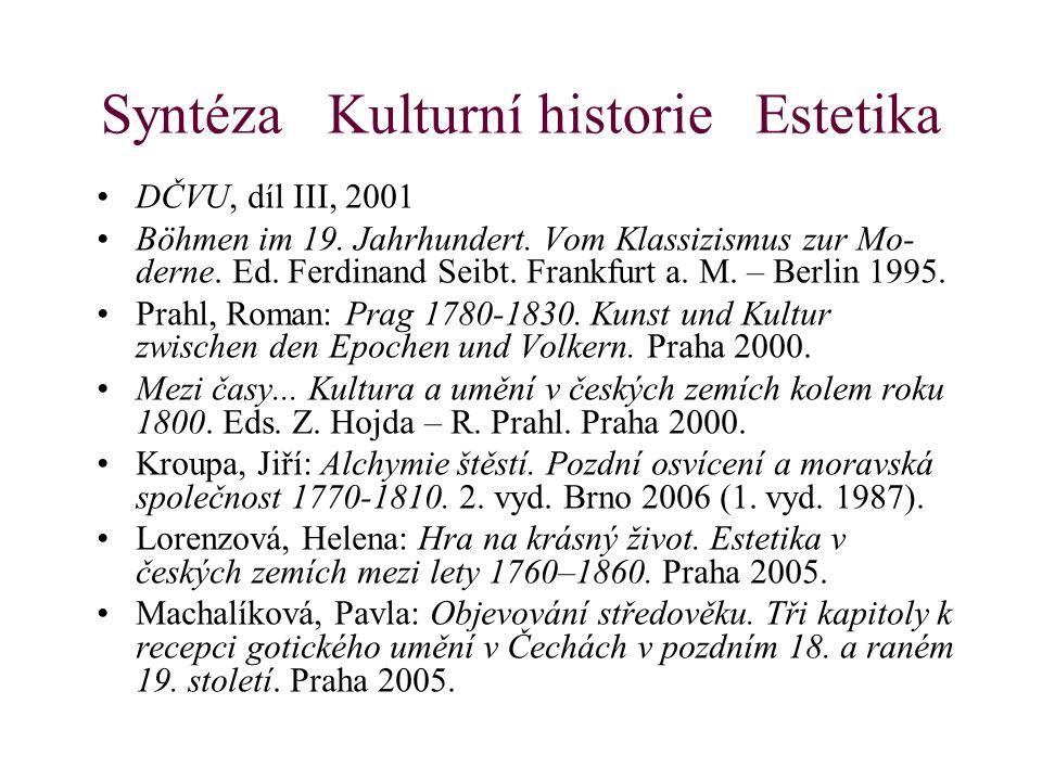 Syntéza Kulturní historie Estetika