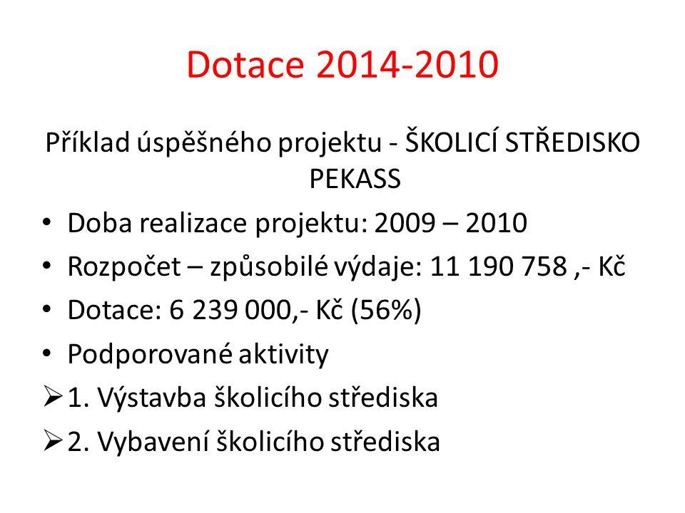 Příklad úspěšného projektu - ŠKOLICÍ STŘEDISKO PEKASS