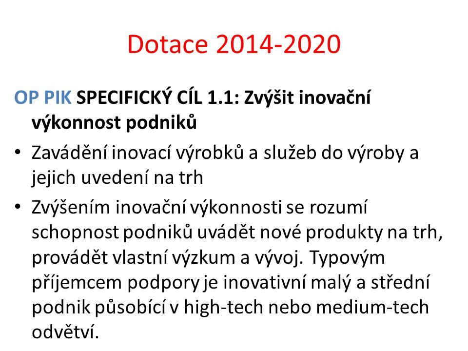 Dotace 2014-2020 OP PIK SPECIFICKÝ CÍL 1.1: Zvýšit inovační výkonnost podniků. Zavádění inovací výrobků a služeb do výroby a jejich uvedení na trh.