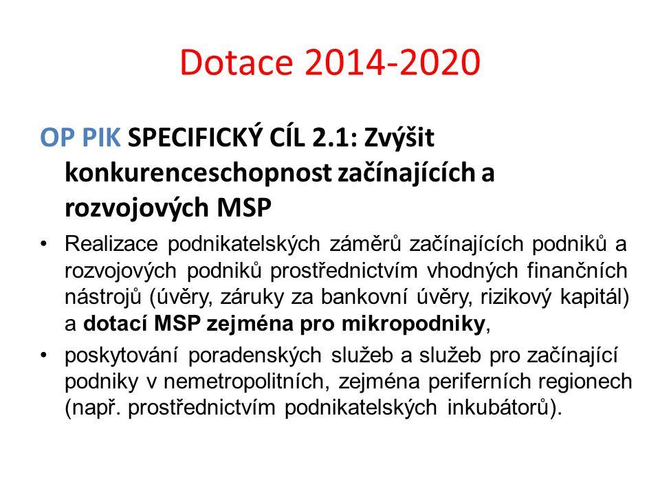 Dotace 2014-2020 OP PIK SPECIFICKÝ CÍL 2.1: Zvýšit konkurenceschopnost začínajících a rozvojových MSP.