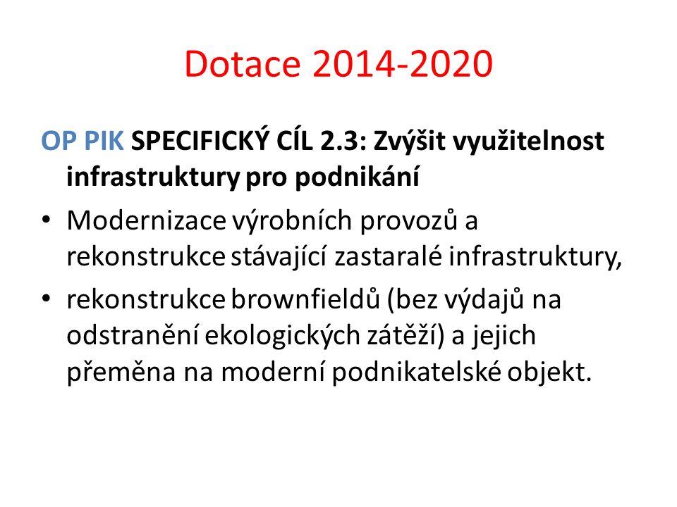 Dotace 2014-2020 OP PIK SPECIFICKÝ CÍL 2.3: Zvýšit využitelnost infrastruktury pro podnikání.