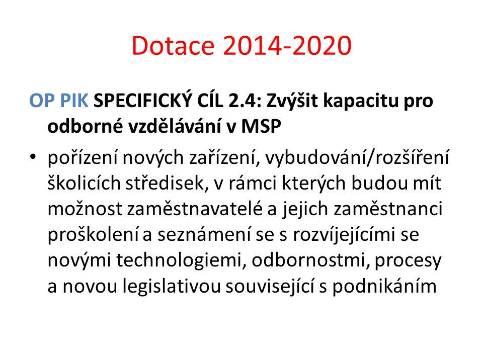 Dotace 2014-2020 OP PIK SPECIFICKÝ CÍL 2.4: Zvýšit kapacitu pro odborné vzdělávání v MSP.